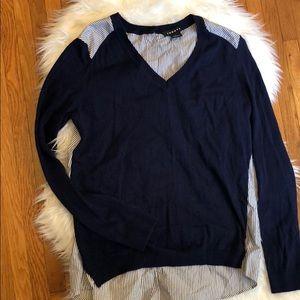 Trouve V-Neck Navy Sweater Button Down Stripe Back